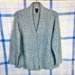 Eileen Fisher 3X Women's Jacket Cardigan Gray/Blue